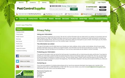 Screenshot of Privacy Page pestcontrolsupplies.co.uk - Privacy Policy | Pest Control Supplies - captured Sept. 22, 2014
