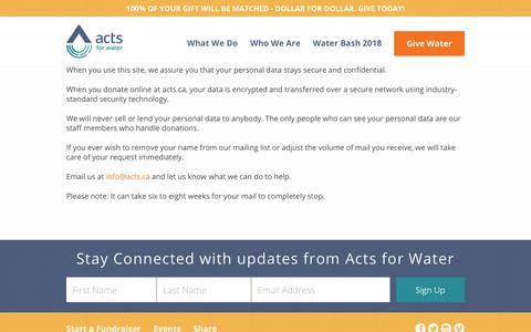 Screenshot of Privacy Page acts.ca - ACTS.ca | Our Privacy Policy - ACTS.ca - captured Nov. 12, 2018