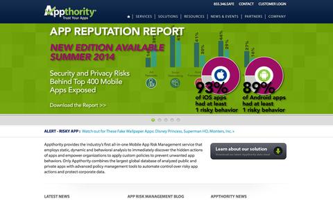 Screenshot of Products Page Services Page appthority.com - Appthority:   App Risk Management - Mobile App Reputation - Application Security - captured Oct. 22, 2014