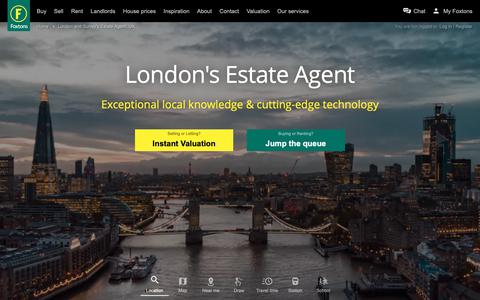 Screenshot of Home Page foxtons.co.uk - Foxtons: London Estate Agents, UK. Properties for Sale, London Rentals, Short Lettings and New Homes - captured May 3, 2019