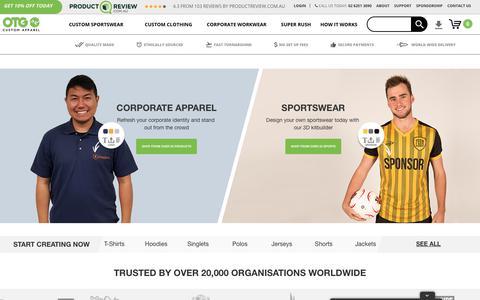 Screenshot of Home Page onthegosports.com.au - ONTHEGO® | Custom Sport, Corporate & Work Apparel | onthegosports.com.au - captured Aug. 25, 2019