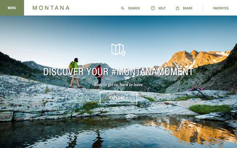 Screenshot of Home Page visitmt.com - Montana's Official Tourism, Travel & Vacation Info Site - captured May 15, 2018