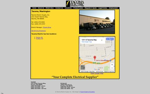 Screenshot of Locations Page tacomaelectric.com - Tacoma Electric Supply, Inc. - Tacoma Location - captured Feb. 13, 2016