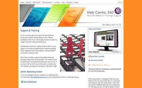Screenshot of Support Page webcentric360.com - Client Support Area – Affordable Websites Now - captured Oct. 26, 2014