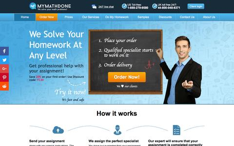 Screenshot of Home Page mymathdone.com - Get professional homework help online at MyMathDone today! - captured Dec. 4, 2016