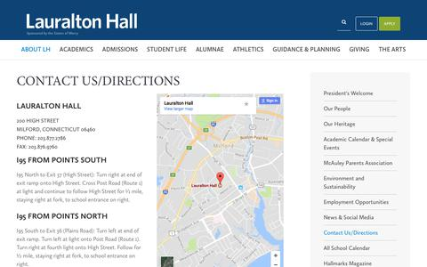Screenshot of Contact Page Maps & Directions Page lauraltonhall.org - Contact Us/Directions - Lauralton Hall School - captured Oct. 7, 2017