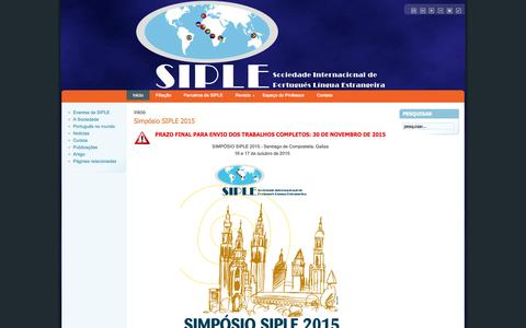 Screenshot of Home Page siple.org.br - .: SIPLE - Sociedade Internacional de Português-Língua Estrangeira :. - captured Oct. 16, 2015