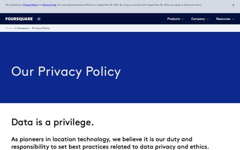 Screenshot of Privacy Page foursquare.com - Privacy Policy - Foursquare - captured Aug. 22, 2019