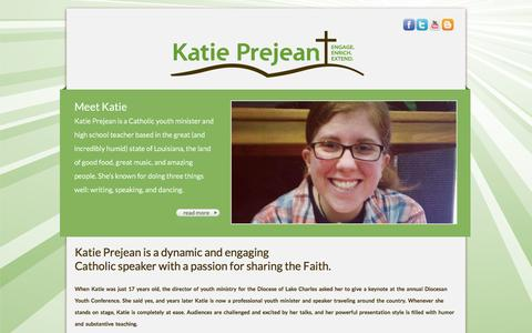 Screenshot of Home Page katieprejean.com - Catholic Youth Minister - Public Speaker - Katie Prejean - captured Oct. 6, 2014