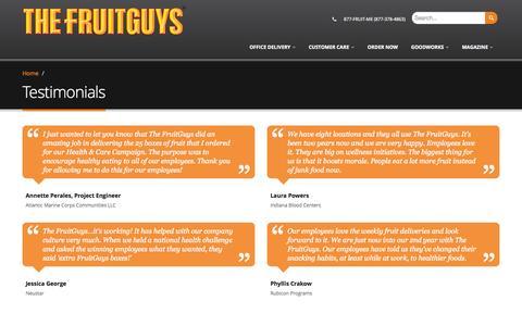 Screenshot of Testimonials Page fruitguys.com - Testimonials | The FruitGuys - captured Nov. 20, 2015