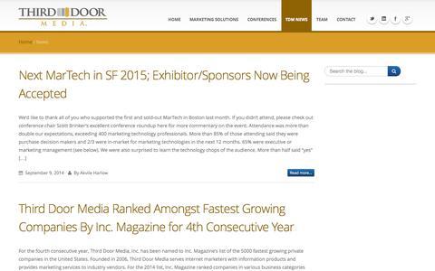 Screenshot of Press Page thirddoormedia.com - News - Third Door Media - captured Sept. 18, 2014