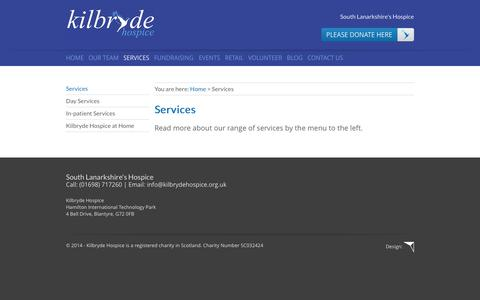 Screenshot of Services Page kilbrydehospice.org.uk - Services - Kilbryde Hospice - captured Oct. 29, 2014