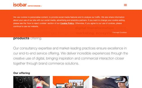 Screenshot of Services Page isobar.com - Isobar Services |Digital Marketing, Ecosystems & Products - captured July 13, 2018