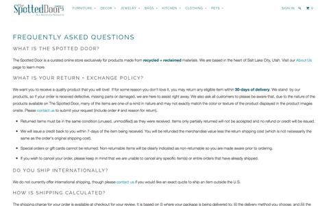 Screenshot of FAQ Page thespotteddoor.com - FAQs - The Spotted Door - captured Dec. 22, 2016