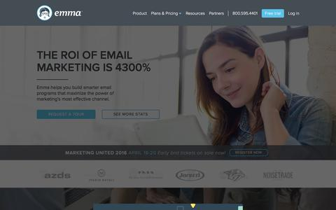 Screenshot of Home Page myemma.com - Email Marketing Services - Email Marketing Software - Email Marketing   Emma, Inc. - captured Jan. 19, 2016