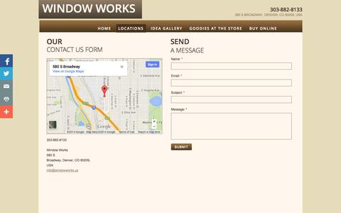 Screenshot of Privacy Page Locations Page windowworks.us - Curtains And Drapes, How To Contact Us - Window Works - Denver, Co - captured Oct. 25, 2014