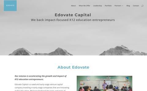 Screenshot of Home Page edovatecapital.com - Edovate Capital | We back impact-focused K12 education entrepreneurs - captured Dec. 1, 2019