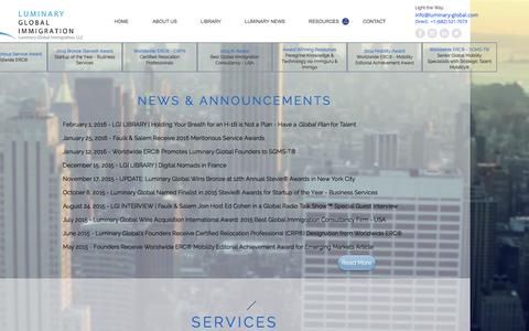 Screenshot of Home Page luminaryglobalimmigration.com - Luminary Global Immigration, LLC | LGI Case Management & Consulting - captured Feb. 2, 2016