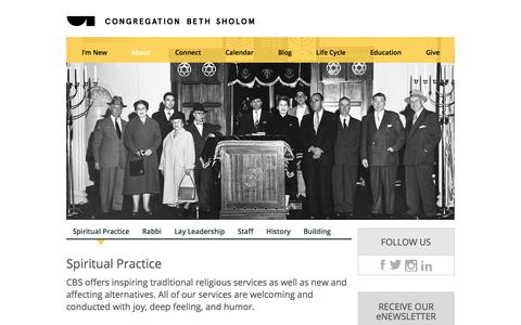 Screenshot of About Page bethsholomsf.org - Services | Congregation Beth Sholom - captured Aug. 23, 2017