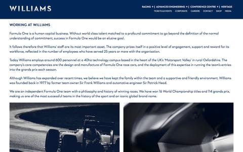 Screenshot of Jobs Page williamsf1.com - Williams F1 - captured Nov. 30, 2016