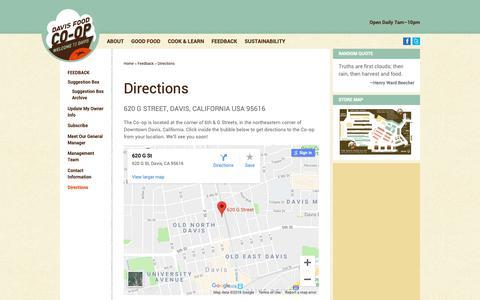 Screenshot of Maps & Directions Page davisfood.coop - Directions - Davis Food Co-op - captured Oct. 7, 2018