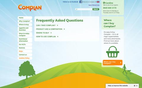 Screenshot of FAQ Page complan.com - Frequently asked questions | Complan - captured Sept. 19, 2014