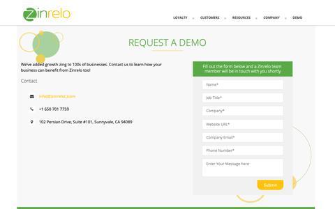 Screenshot of Contact Page Pricing Page zinrelo.com - Zinrelo Contact Us - Loyalty Rewards Program - Referral Marketing Program - captured Nov. 3, 2018