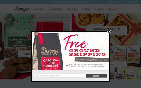 Screenshot of Home Page deweys.com - Moravian Cookies, Sugar Cake, Birthday Cakes, Ice Cream | Winston-Salem, NC | Dewey's Bakery - captured Nov. 14, 2018