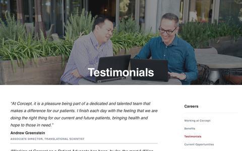 Screenshot of Testimonials Page corcept.com - Employee Testimonials | Corcept Therapeutics - captured Nov. 3, 2018