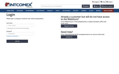 Screenshot of Login Page intcomex.com - INTCOMEX - Premiere distributor of a wide range of computer products - captured Nov. 4, 2018
