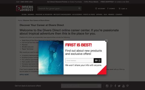 Screenshot of Jobs Page diversdirect.com - Welcome To The Divers Direct Online Career Center. Powered by GearUp Experts! Discover Your Career At Divers Direct. - Divers Direct - captured Aug. 7, 2018