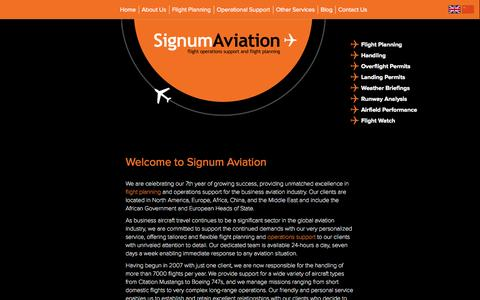 Screenshot of About Page signumaviation.co.uk - Find out about Signum Aviation the Flight Planning specialist uk - captured Oct. 29, 2014