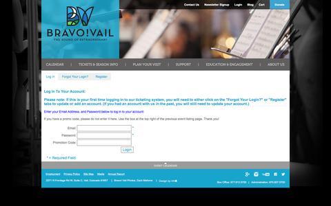 Screenshot of Login Page bravovail.org - Bravo! Vail | Login - captured Jan. 7, 2016