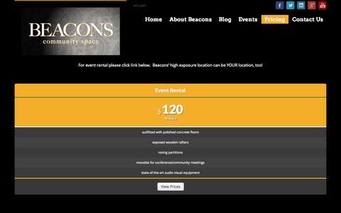Screenshot of Pricing Page beaconscherrycreek.com - Pricing - Beacons - captured Oct. 4, 2014