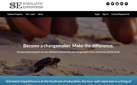 Screenshot of Home Page scholasticexpeditions.org - Scholastic Expeditions – An experiential education company - captured Dec. 9, 2018