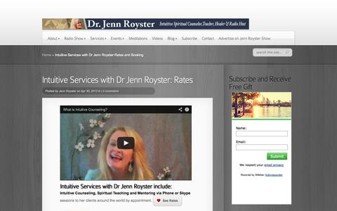 Screenshot of Services Page jennroyster.com - Intuitive Services with Dr Jenn Royster:Rates and Booking - captured Sept. 19, 2014