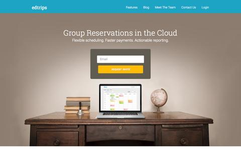 Screenshot of Home Page edtrips.com - Group Reservation Software | Booking Software | EdTrips - captured Jan. 14, 2015