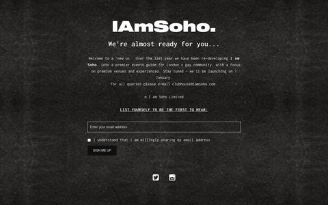 Screenshot of Home Page iamsoho.com - I AM SOHO. – For today, for tonight. - captured Nov. 27, 2018