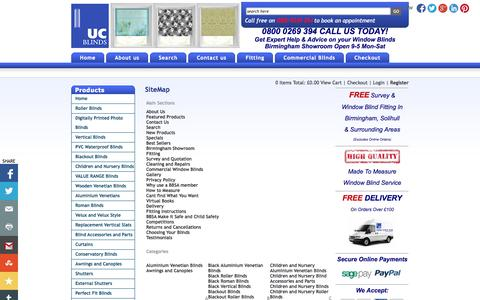 Screenshot of Site Map Page ucblinds.co.uk - Roller Blinds | Vertical Blinds | Roman Blinds | Wooden & Aluminium Venetian Blinds - captured Oct. 3, 2014