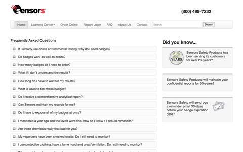 Screenshot of FAQ Page sensorssafety.com - Sensors Safety » FAQ | Sensors Safety - captured Sept. 30, 2017