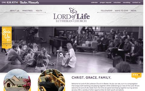 Screenshot of Home Page lolbaxter.org - Home - Lord of Life Church - BaxterLord of Life Church Đ Baxter - captured Jan. 7, 2016