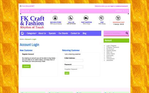 Screenshot of Login Page fkcraft.com - Account Login - captured Feb. 9, 2016