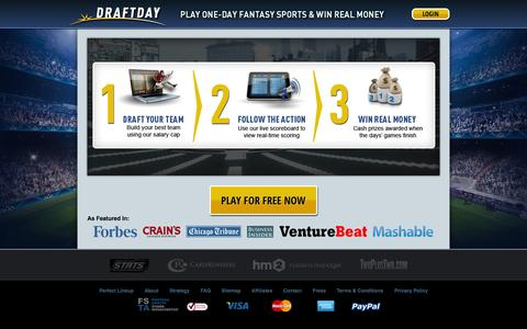 Screenshot of Home Page draftday.com - Daily Fantasy Sports for Money - Draft Day - captured Sept. 12, 2014