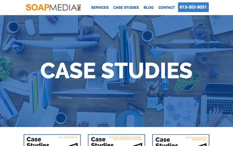 Screenshot of Case Studies Page soapmedia.ca - Portfolio - Digital Marketing and Website Development Company Ottawa - captured Oct. 1, 2018