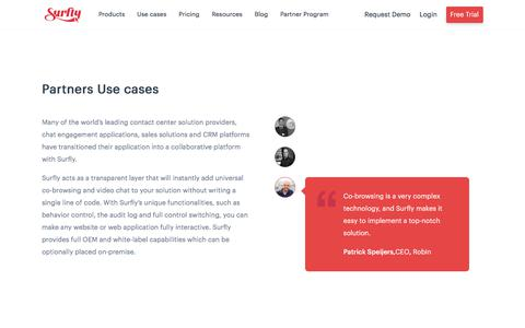 Screenshot of Case Studies Page surfly.com - Partnership Use Cases - Surfly - captured Jan. 3, 2020