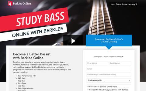 Screenshot of Landing Page berklee.edu - Study Bass with Berklee Online - captured Oct. 23, 2017