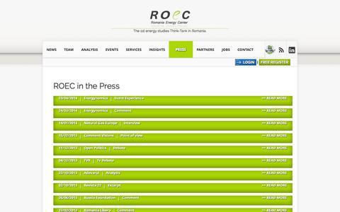 Screenshot of Press Page roec.biz - ROEC in the Press   ROEC – Romania Energy Center - captured Nov. 4, 2014
