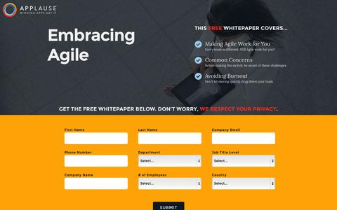 Screenshot of Landing Page applause.com - Agile Testing Whitepaper - Applause: 360° App Quality - captured Oct. 27, 2014