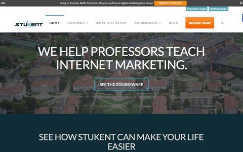 Screenshot of Home Page stukent.com - Internet Marketing Simulation, Textbook & Courseware - Stukent - captured Aug. 11, 2015