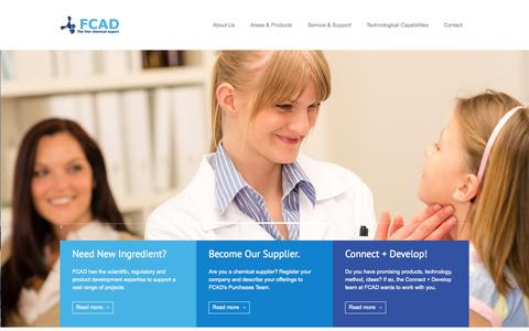 Screenshot of Home Page fcad.com - FCAD Group   The Fine Chemical Expert - captured Oct. 5, 2014